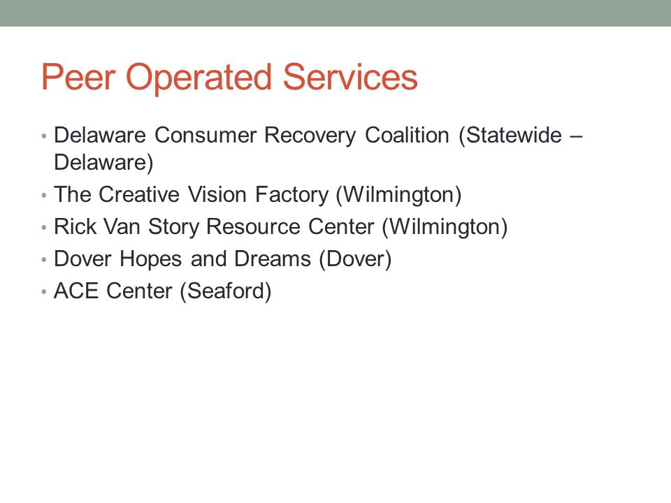 Peer Operated Services Delaware Consumer Recovery Coalition (Statewide – Delaware) The Creative Vision Factory (Wilmington) Rick Van Story Resource Center (Wilmington) Dover Hopes and Dreams (Dover) ACE Center (Seaford)
