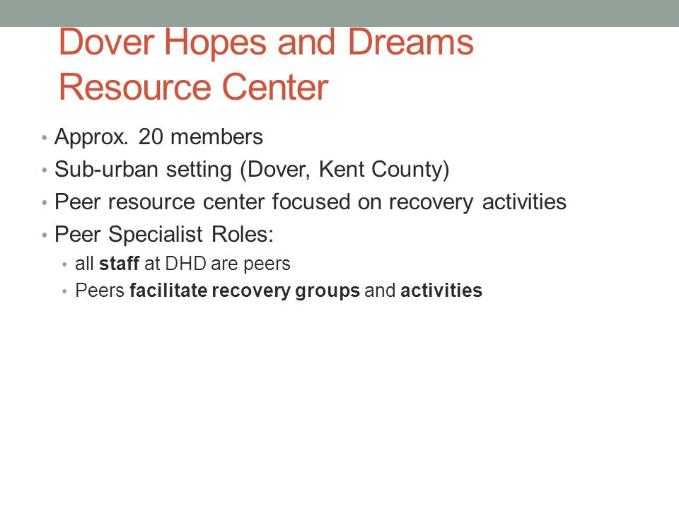 Dover Hopes and Dreams Resource Center Approx.