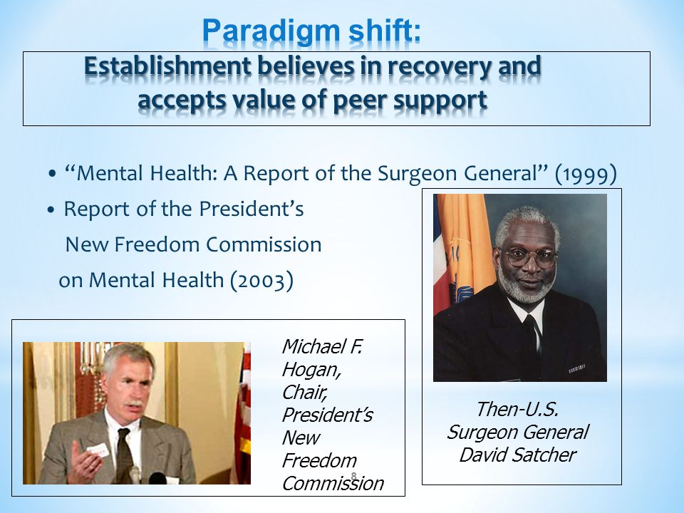 """""""Mental Health: A Report of the Surgeon General"""" (1999) Report of the President's New Freedom Commission on Mental Health (2003) 8 Then-U.S. Surgeon G"""