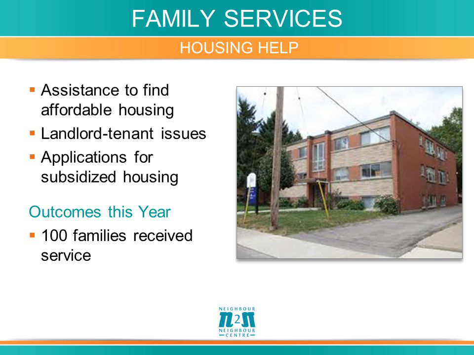 FAMILY SERVICES HOUSING HELP  Assistance to find affordable housing  Landlord-tenant issues  Applications for subsidized housing Outcomes this Year  100 families received service