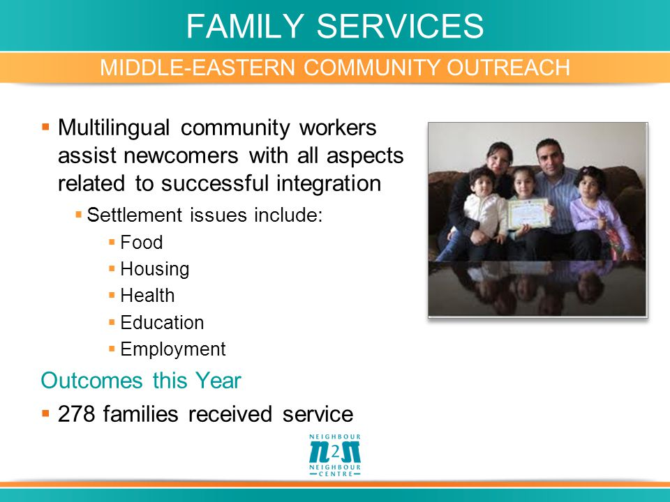 FAMILY SERVICES MIDDLE-EASTERN COMMUNITY OUTREACH  Multilingual community workers assist newcomers with all aspects related to successful integration