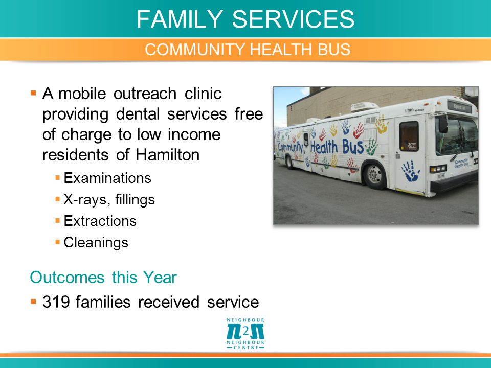 FAMILY SERVICES COMMUNITY HEALTH BUS  A mobile outreach clinic providing dental services free of charge to low income residents of Hamilton  Examinations  X-rays, fillings  Extractions  Cleanings Outcomes this Year  319 families received service