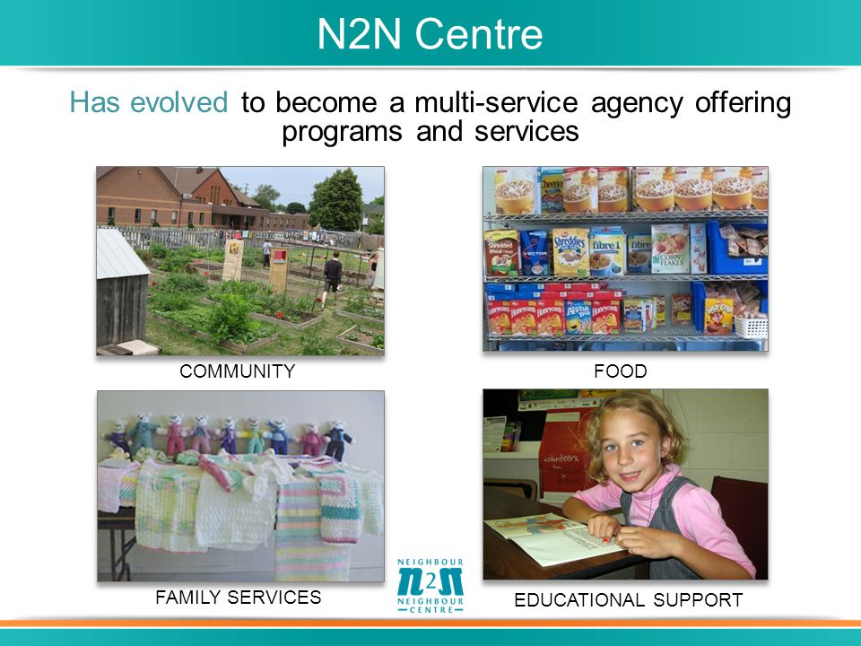 Has evolved to become a multi-service agency offering programs and services N2N Centre COMMUNITYFOOD FAMILY SERVICES EDUCATIONAL SUPPORT