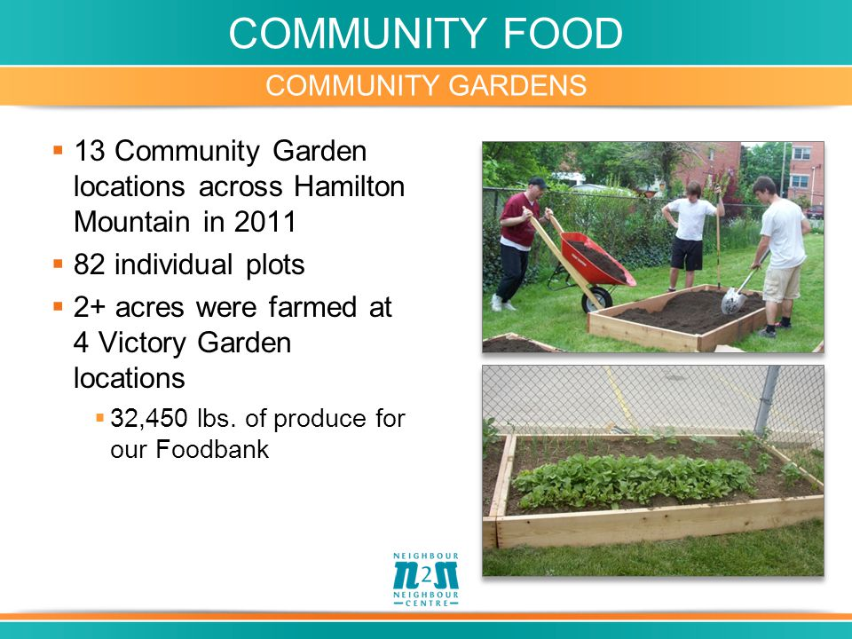 COMMUNITY FOOD COMMUNITY GARDENS  13 Community Garden locations across Hamilton Mountain in 2011  82 individual plots  2+ acres were farmed at 4 Vi
