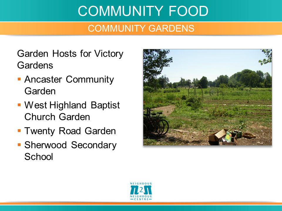 COMMUNITY FOOD Garden Hosts for Victory Gardens  Ancaster Community Garden  West Highland Baptist Church Garden  Twenty Road Garden  Sherwood Secondary School COMMUNITY GARDENS