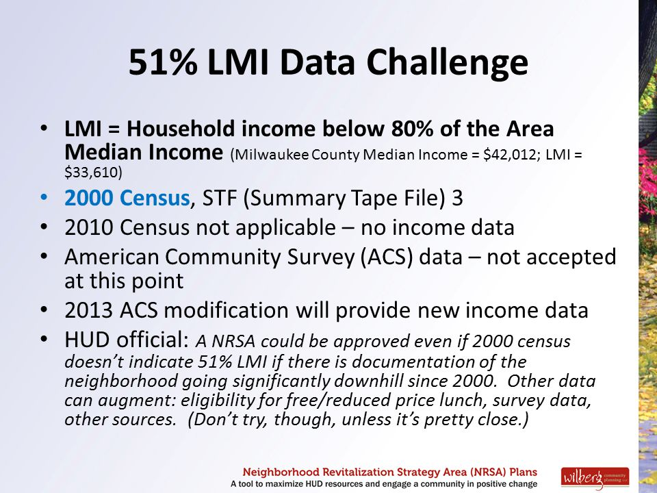 51% LMI Data Challenge LMI = Household income below 80% of the Area Median Income (Milwaukee County Median Income = $42,012; LMI = $33,610) 2000 Censu
