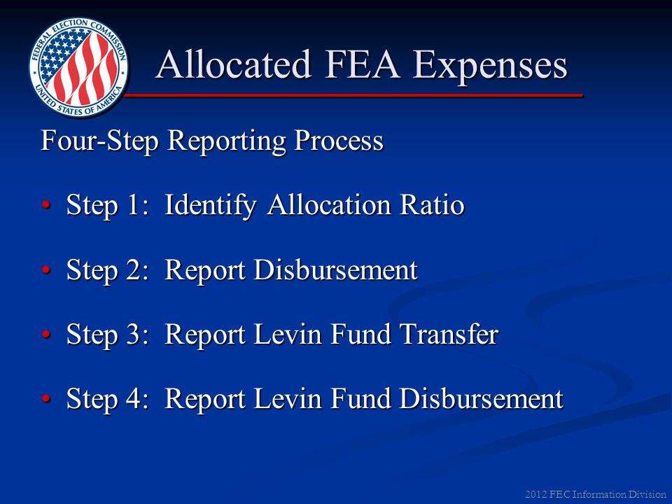 2012 FEC Information Division Allocated FEA Expenses Allocated FEA Expenses Four-Step Reporting Process Step 1: Identify Allocation RatioStep 1: Ident