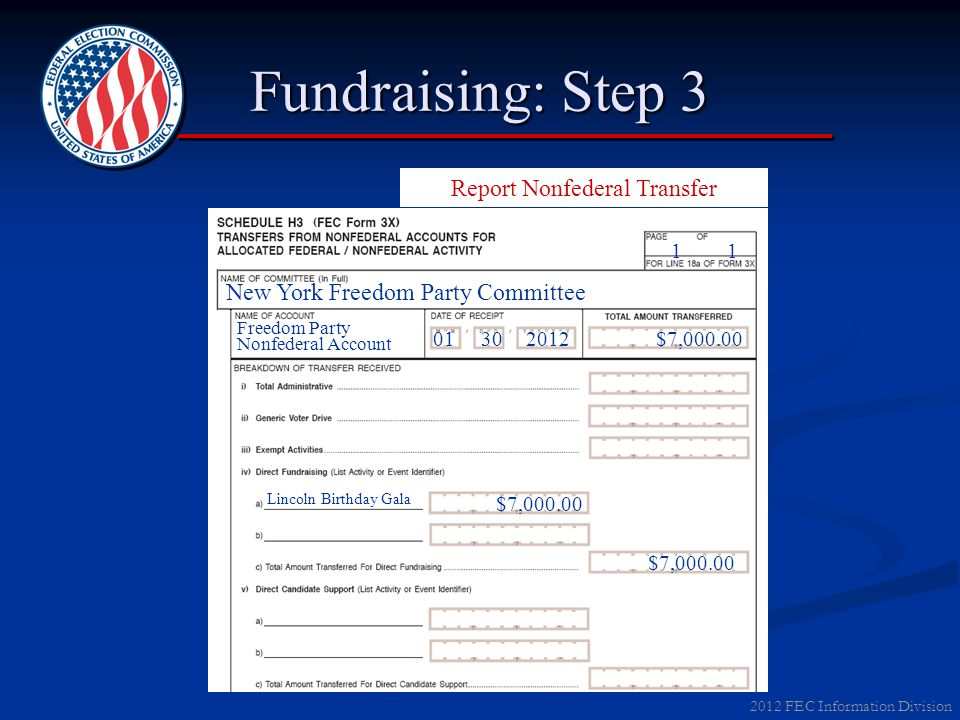 2012 FEC Information Division Fundraising: Step 3 Report Nonfederal Transfer New York Freedom Party Committee Lincoln Birthday Gala Freedom Party Nonf