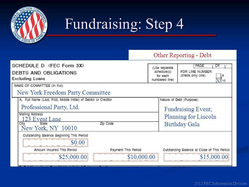 2012 FEC Information Division Fundraising: Step 4 Other Reporting - Debt 11 X New York Freedom Party Committee Professional Party, Ltd. New York, NY 1