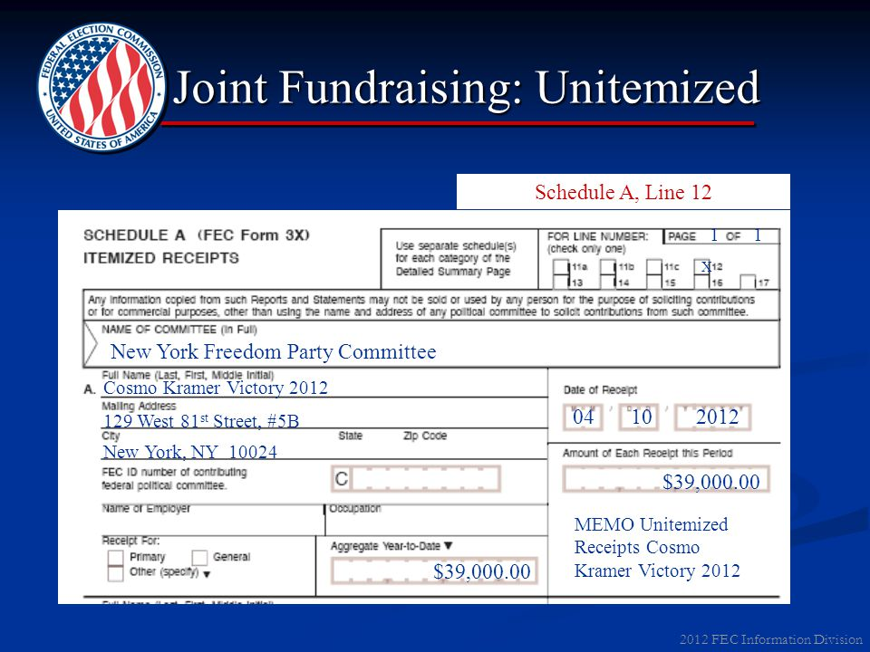2012 FEC Information Division Joint Fundraising: Unitemized Schedule A, Line 12 X New York Freedom Party Committee Cosmo Kramer Victory 2012 129 West