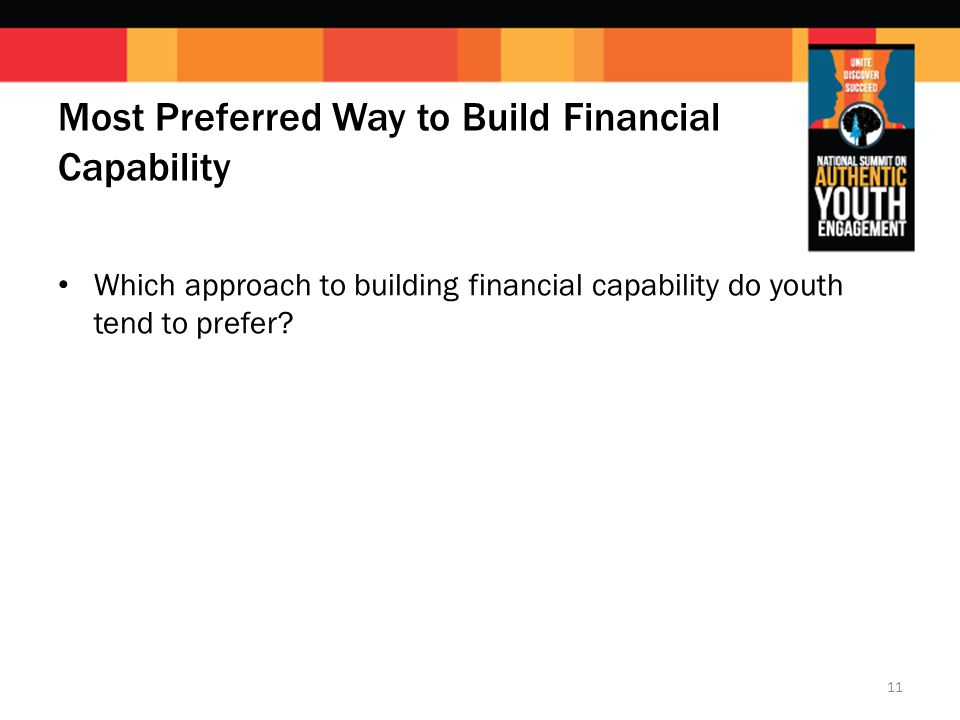 Most Preferred Way to Build Financial Capability Which approach to building financial capability do youth tend to prefer.