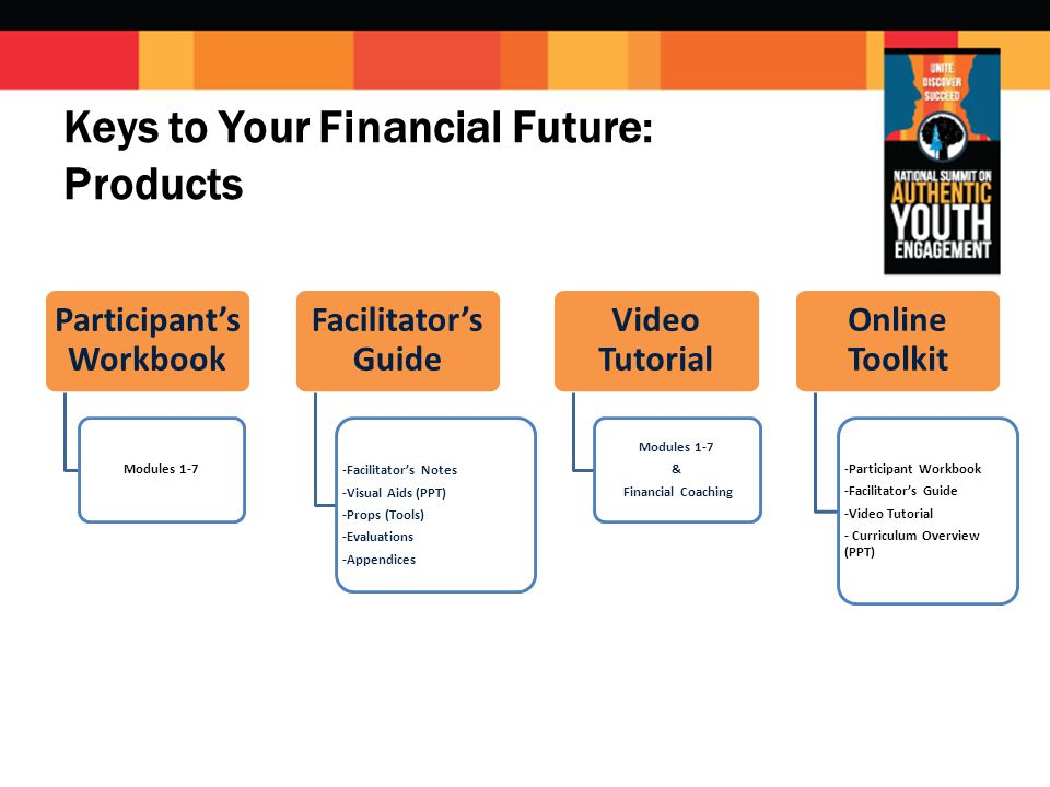 Participant's Workbook Modules 1-7 Facilitator's Guide -Facilitator's Notes -Visual Aids (PPT) -Props (Tools) -Evaluations -Appendices Video Tutorial Modules 1-7 & Financial Coaching Online Toolkit -Participant Workbook -Facilitator's Guide -Video Tutorial - Curriculum Overview (PPT) Keys to Your Financial Future: Products