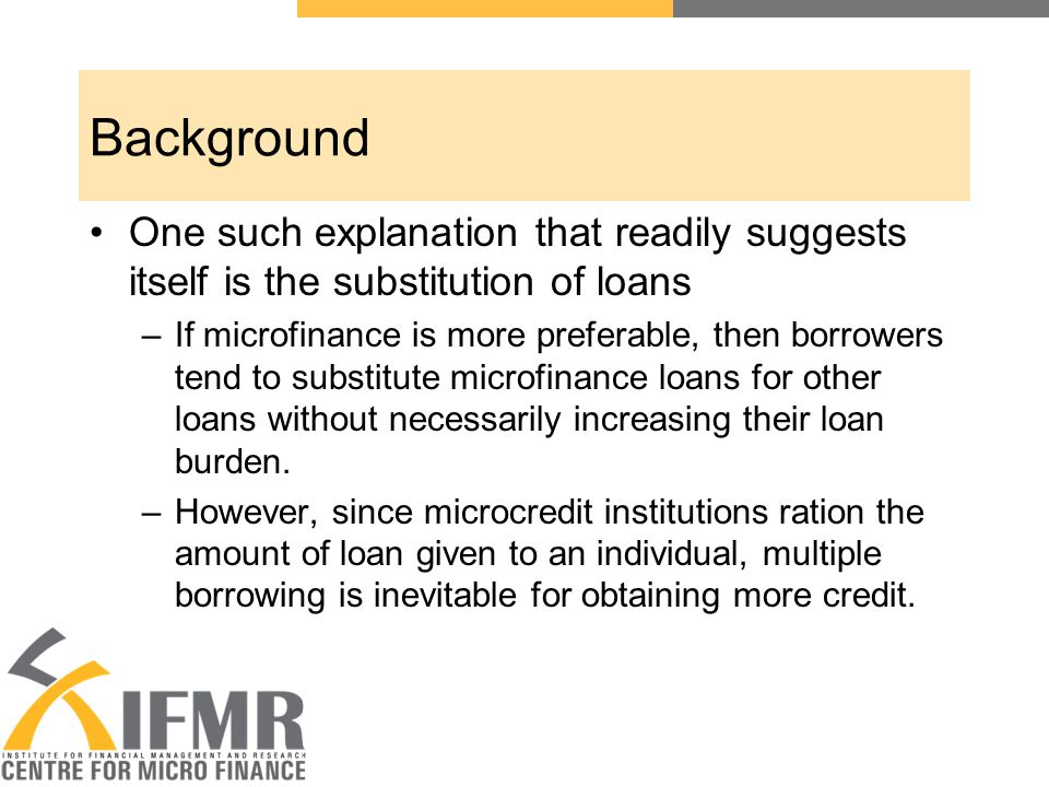 Conclusions No evidence of indiscriminate borrowing: –Increase in number of lending agencies need not necessarily mean an increase in the amount of loan size in a village.