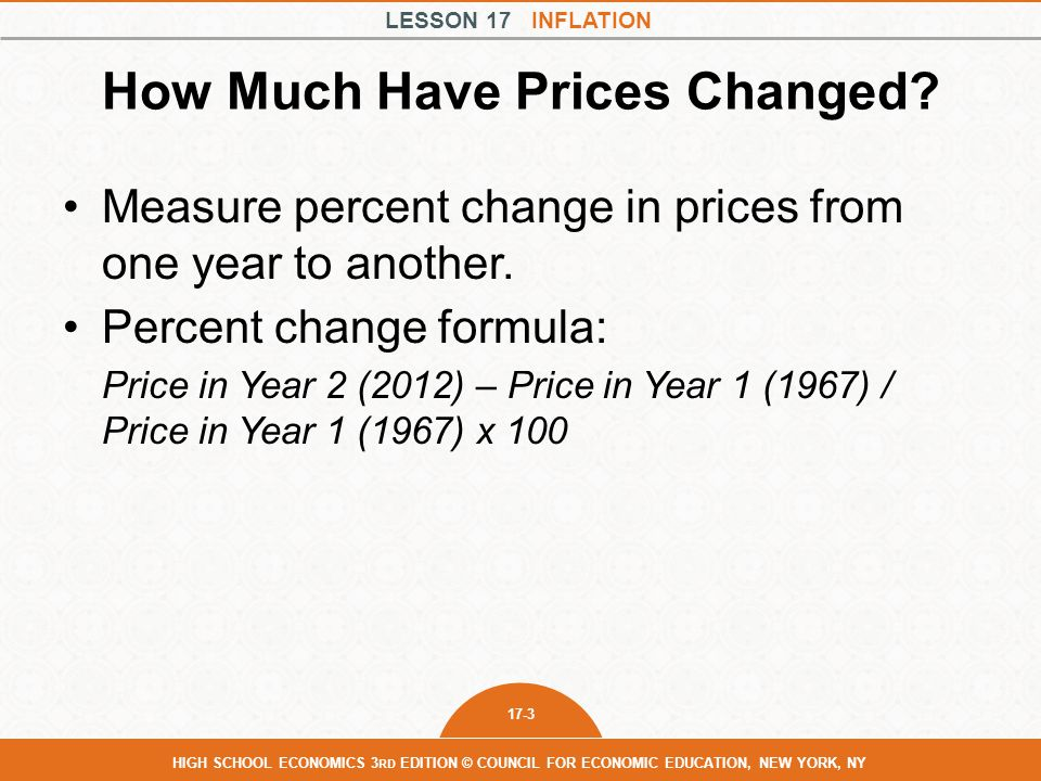 LESSON 17 INFLATION 17-4 HIGH SCHOOL ECONOMICS 3 RD EDITION © COUNCIL FOR ECONOMIC EDUCATION, NEW YORK, NY How Much Have Prices Changed.