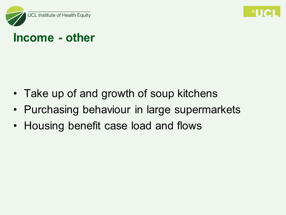 Income - other Take up of and growth of soup kitchens Purchasing behaviour in large supermarkets Housing benefit case load and flows