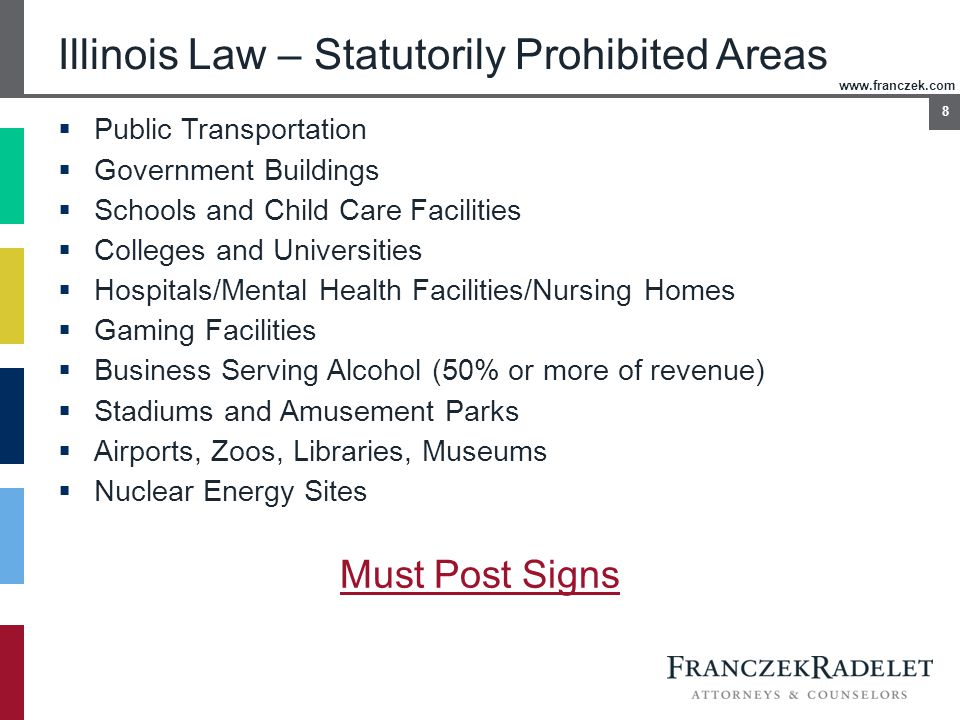 www.franczek.com 8 Illinois Law – Statutorily Prohibited Areas  Public Transportation  Government Buildings  Schools and Child Care Facilities  Co