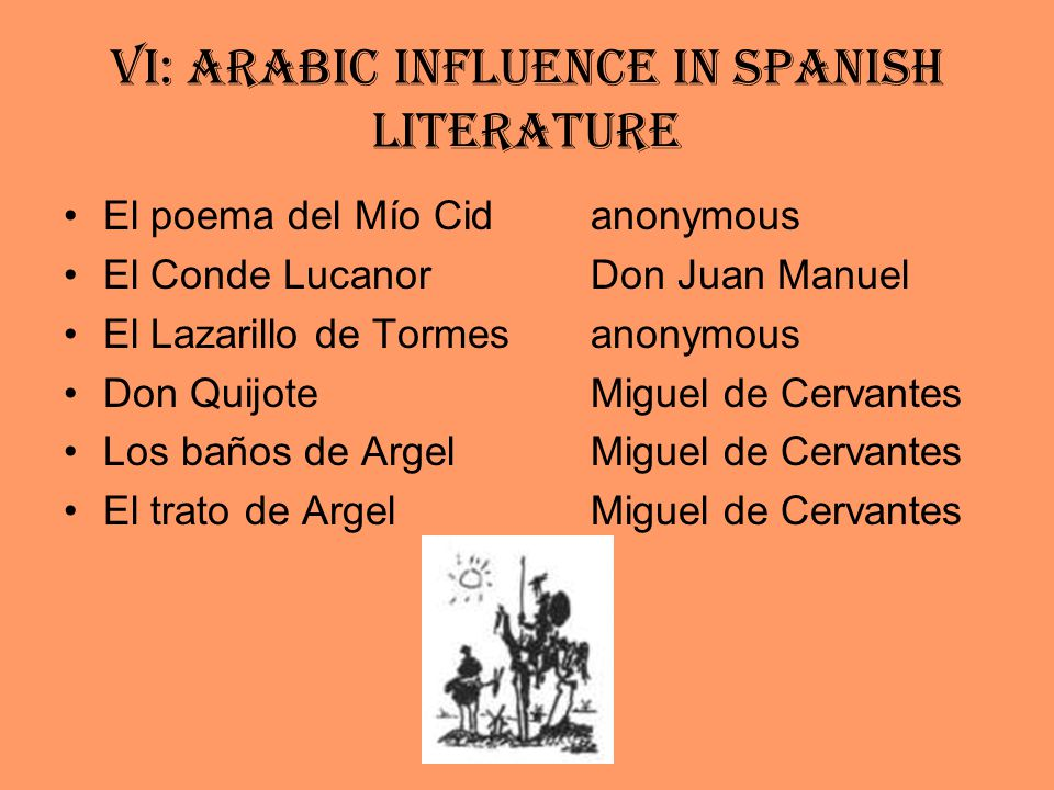 VI: Arabic Influence in Spanish Literature El poema del Mío Cid anonymous El Conde Lucanor Don Juan Manuel El Lazarillo de Tormes anonymous Don Quijote Miguel de Cervantes Los baños de ArgelMiguel de Cervantes El trato de ArgelMiguel de Cervantes