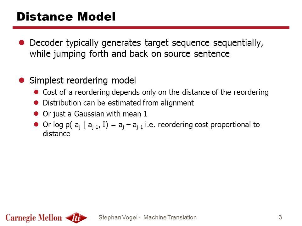 Stephan Vogel - Machine Translation14 Distortion Model Table acuerdo con el lugar de ||| according to the place of ||| 0.14286 0.14286 0.71429 0.71429 0.14286 0.14286 acuerdo con nuestra información ||| according to our information ||| 0.14286 0.14286 0.71429 0.71429 0.14286 0.14286 acuerdo de pesca con Marruecos ||| fisheries agreement with Morocco ||| 0.92982 0.01754 0.05263 0.78947 0.01754 0.19298 acuerdo entre Israel y ||| agreement ||| 0.20000 0.20000 0.60000 0.20000 0.20000 0.60000 acuerdo no porque sea bueno, ||| agreement not because it is good, ||| 0.60000 0.20000 0.20000 0.60000 0.20000 0.20000 acuerdo sobre este punto ||| agreed on ||| 0.20000 0.20000 0.60000 0.20000 0.20000 0.60000 acuerdos a largo plazo se iniciaron en ||| long-term arrangements began in ||| 0.60000 0.20000 0.20000 0.60000 0.20000 0.20000 acuerdos globales, especialmente ||| global agreements - primarily ||| 0.20000 0.20000 0.60000 0.60000 0.20000 0.20000 lMany entries 0.6 0.2 … lPhrase pair seen only once lSimple smoothing