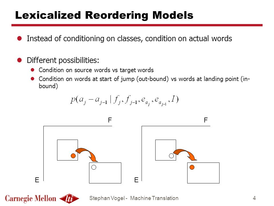 Stephan Vogel - Machine Translation4 Lexicalized Reordering Models lInstead of conditioning on classes, condition on actual words lDifferent possibili