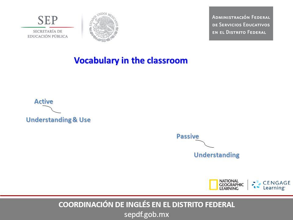 Vocabulary in the classroom Active Understanding & Use Passive Understanding COORDINACIÓN DE INGLÉS EN EL DISTRITO FEDERAL sepdf.gob.mx