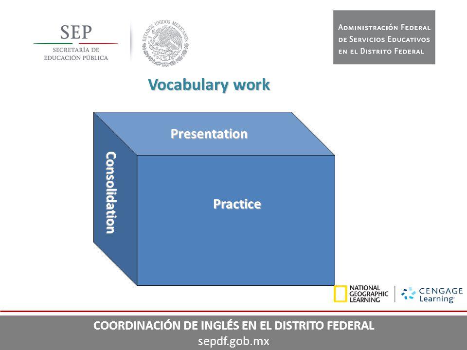 Presentation Practice Consolidation Vocabulary work COORDINACIÓN DE INGLÉS EN EL DISTRITO FEDERAL sepdf.gob.mx