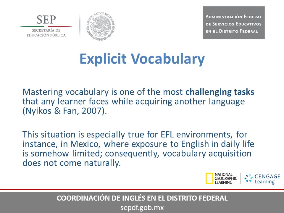 Mastering vocabulary is one of the most challenging tasks that any learner faces while acquiring another language (Nyikos & Fan, 2007). This situation