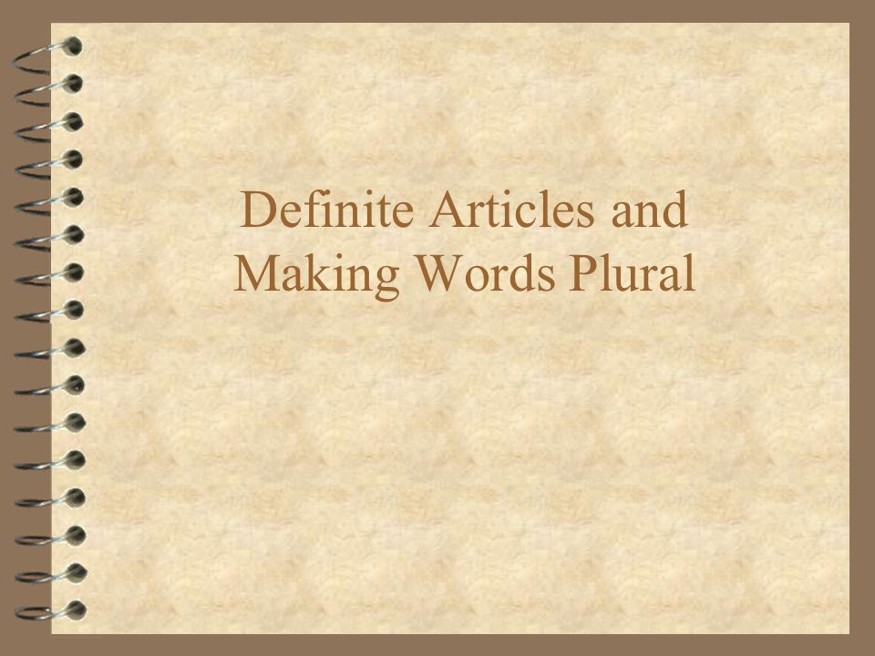 Definite Articles and Making Words Plural