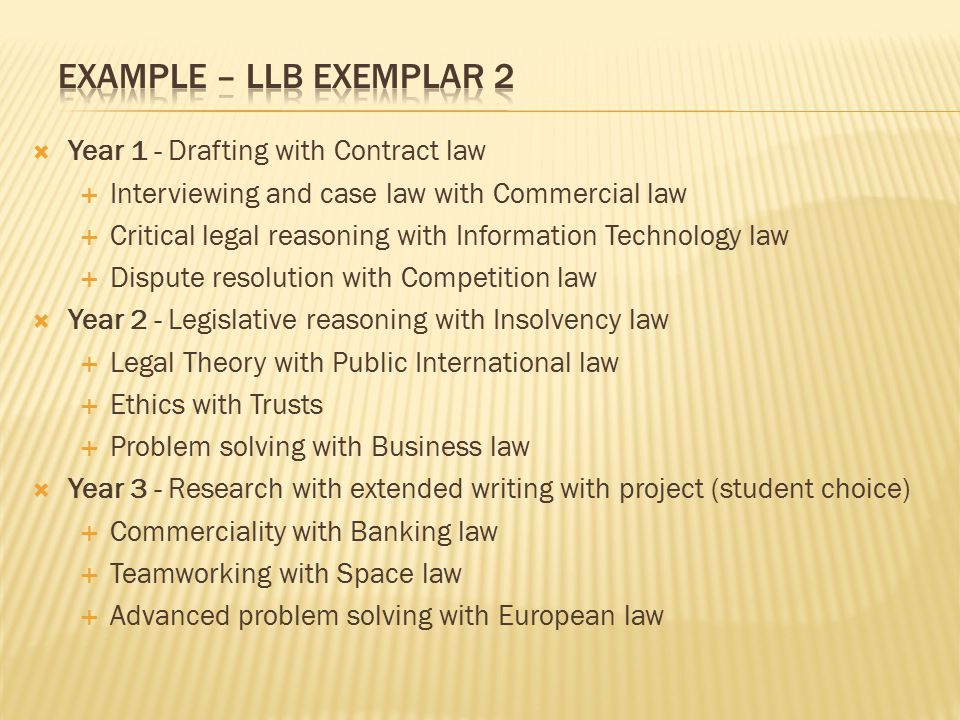  Year 1 - Drafting with Contract law  Interviewing and case law with Commercial law  Critical legal reasoning with Information Technology law  Dis