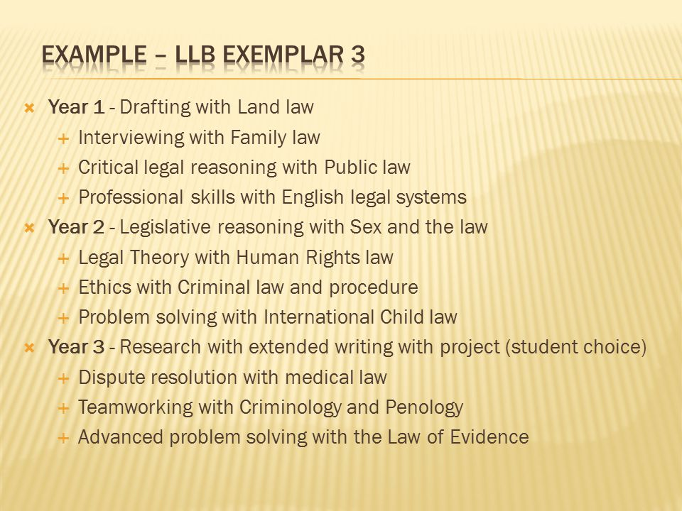  Year 1 - Drafting with Land law  Interviewing with Family law  Critical legal reasoning with Public law  Professional skills with English legal systems  Year 2 - Legislative reasoning with Sex and the law  Legal Theory with Human Rights law  Ethics with Criminal law and procedure  Problem solving with International Child law  Year 3 - Research with extended writing with project (student choice)  Dispute resolution with medical law  Teamworking with Criminology and Penology  Advanced problem solving with the Law of Evidence