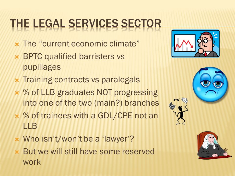  The current economic climate  BPTC qualified barristers vs pupillages  Training contracts vs paralegals  % of LLB graduates NOT progressing into one of the two (main?) branches  % of trainees with a GDL/CPE not an LLB  Who isn't/won't be a 'lawyer'.