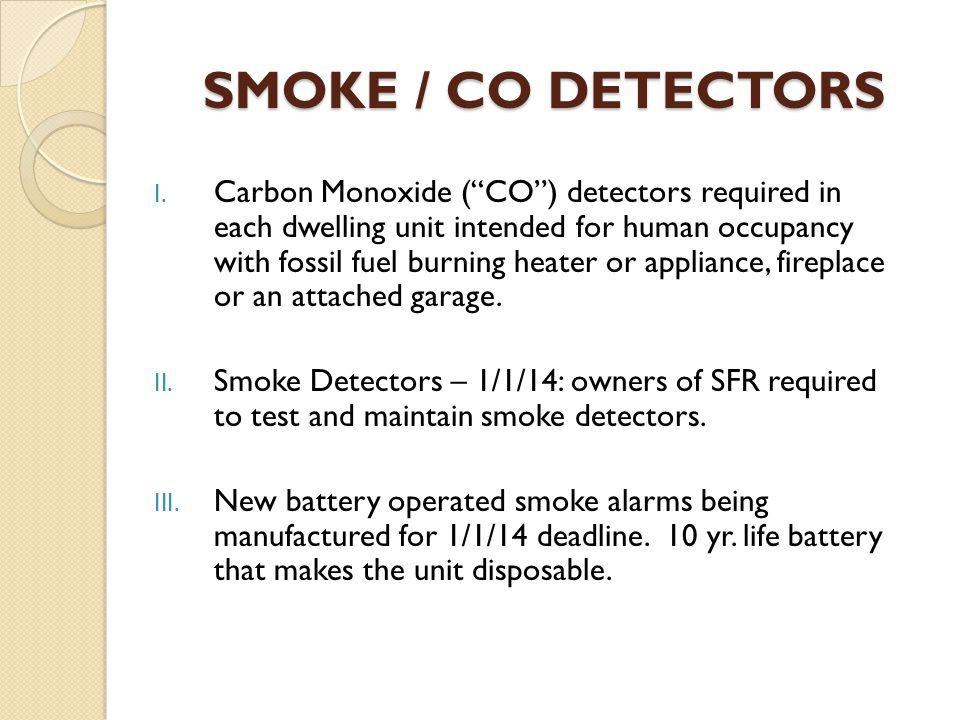 SMOKE / CO DETECTORS I.