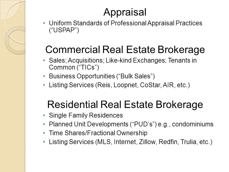 Appraisal Uniform Standards of Professional Appraisal Practices ( USPAP ) Commercial Real Estate Brokerage Sales; Acquisitions; Like-kind Exchanges; Tenants in Common ( TICs ) Business Opportunities ( Bulk Sales ) Listing Services (Reis, Loopnet, CoStar, AIR, etc.) Residential Real Estate Brokerage Single Family Residences Planned Unit Developments ( PUD's ) e.g., condominiums Time Shares/Fractional Ownership Listing Services (MLS, Internet, Zillow, Redfin, Trulia, etc.)