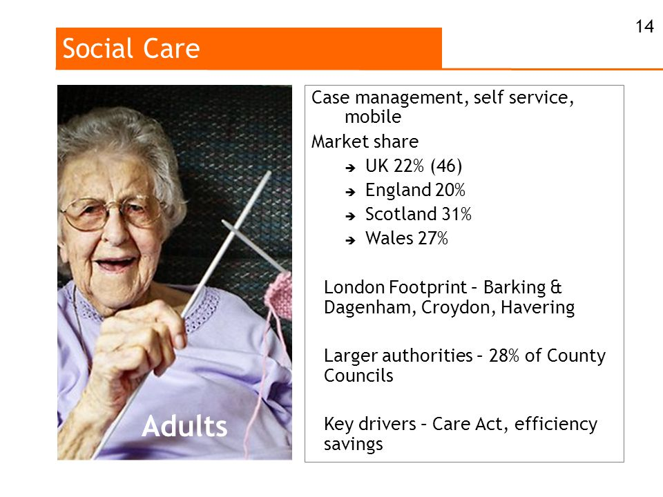 Social Care 14 Case management, self service, mobile Market share  UK 22% (46)  England 20%  Scotland 31%  Wales 27% London Footprint – Barking & Dagenham, Croydon, Havering Larger authorities – 28% of County Councils Key drivers – Care Act, efficiency savings Adults