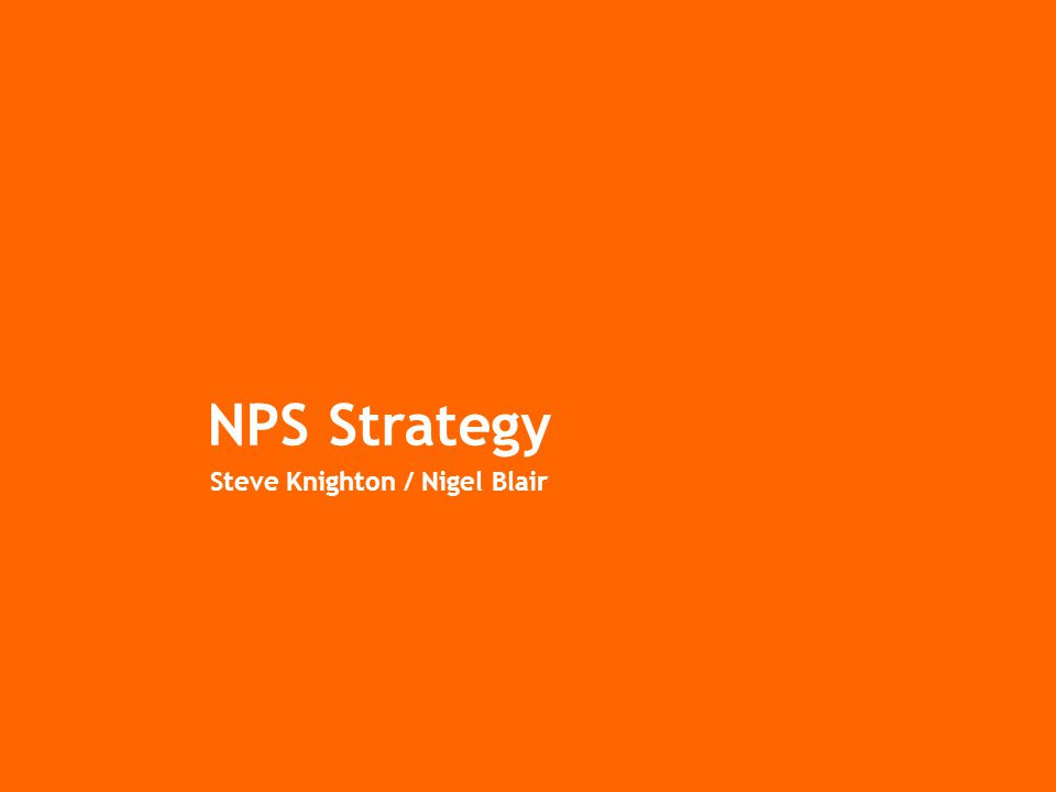 NPS Strategy Steve Knighton / Nigel Blair