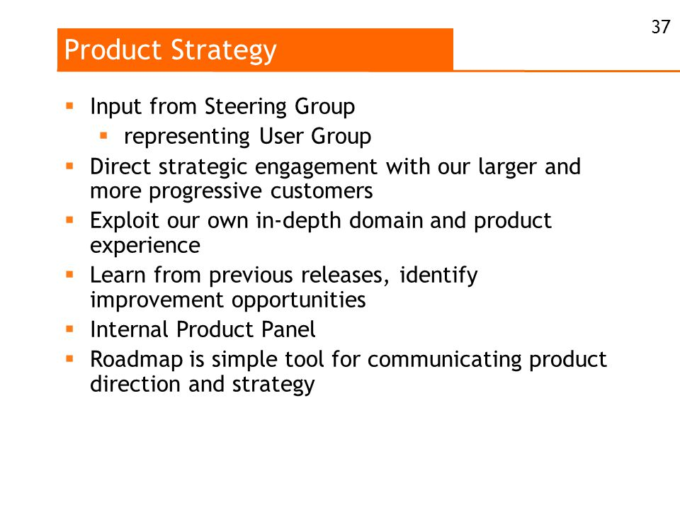 Product Strategy  Input from Steering Group  representing User Group  Direct strategic engagement with our larger and more progressive customers  Exploit our own in-depth domain and product experience  Learn from previous releases, identify improvement opportunities  Internal Product Panel  Roadmap is simple tool for communicating product direction and strategy 37