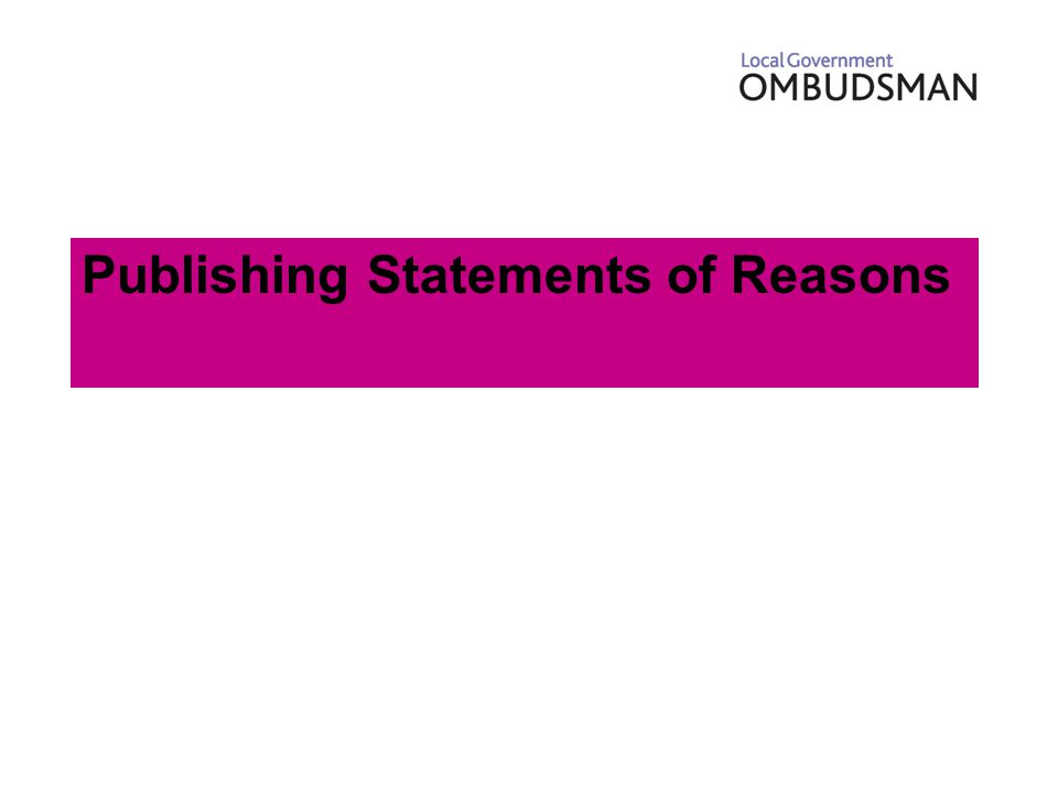Publishing Statements of Reasons