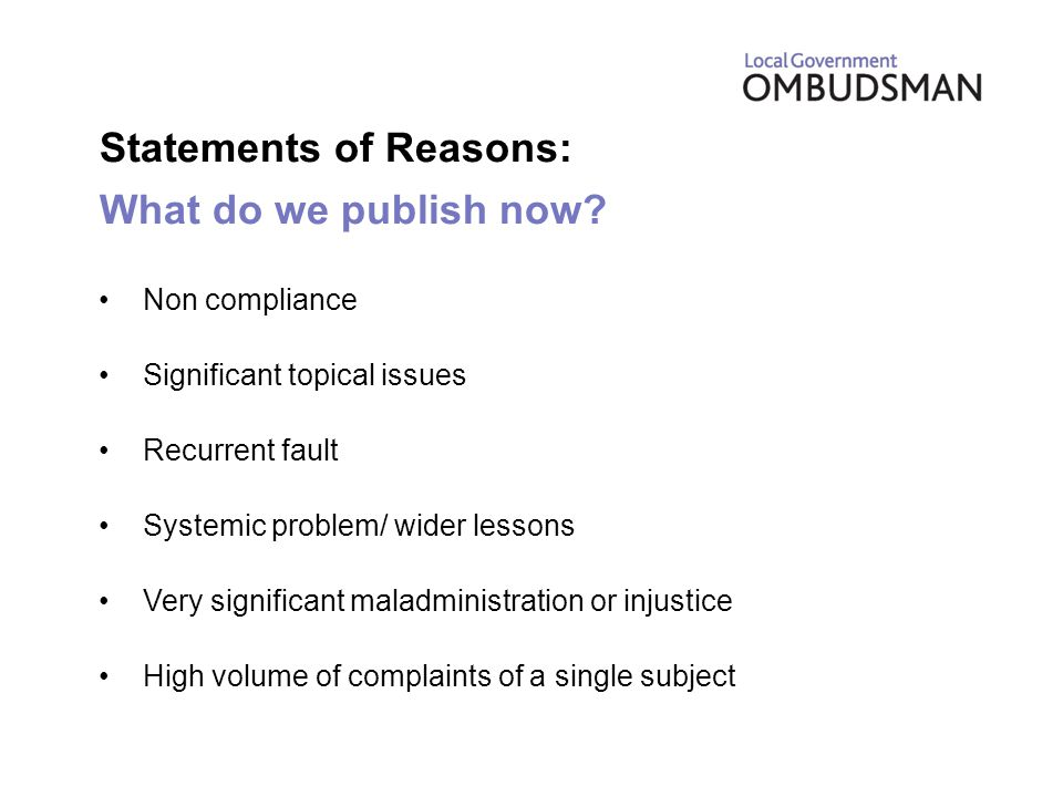Statements of Reasons: What do we publish now.