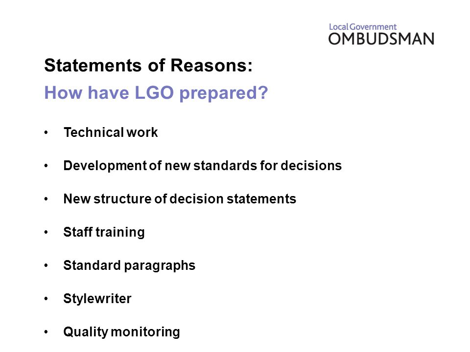 Statements of Reasons: How have LGO prepared.