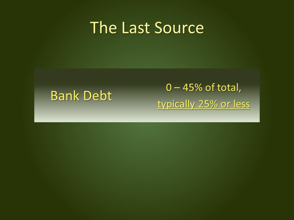 The Last Source Bank Debt 0 – 45% of total, typically 25% or less