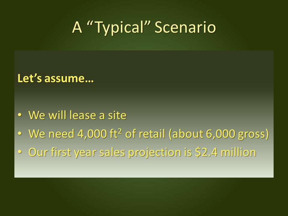 A Typical Scenario Let's assume… We will lease a site We will lease a site We need 4,000 ft 2 of retail (about 6,000 gross) We need 4,000 ft 2 of retail (about 6,000 gross) Our first year sales projection is $2.4 million Our first year sales projection is $2.4 million