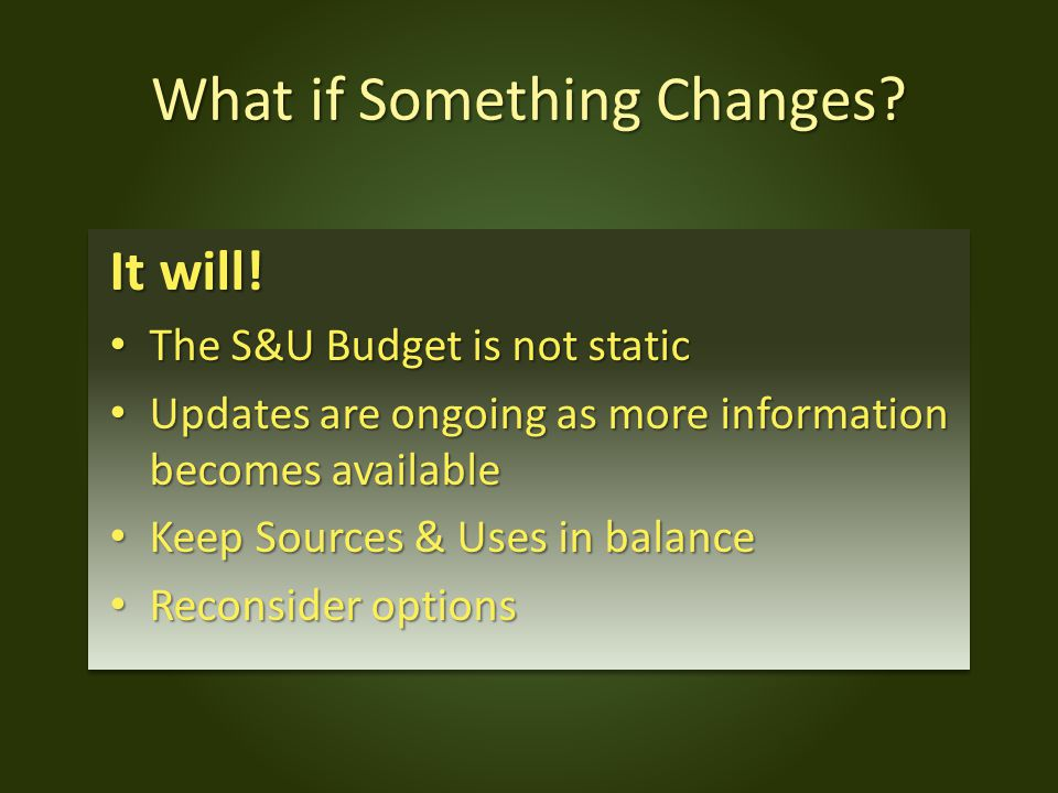 What if Something Changes. It will.