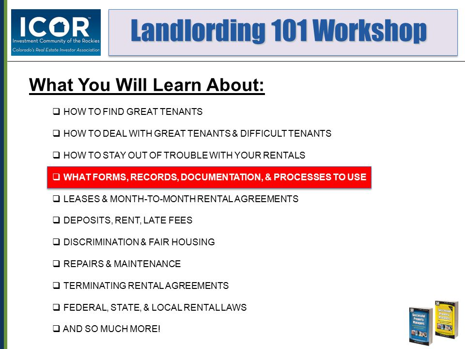 Landlording 101 Workshop Landlording 101 Workshop 11.Which of the following are considered Protected Classes with respect to Fair Housing in the city of Denver.