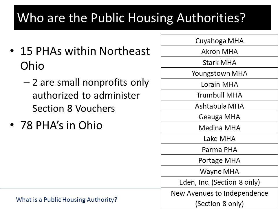 What is a Public Housing Authority? 101 SERIES 15 PHAs within Northeast Ohio – 2 are small nonprofits only authorized to administer Section 8 Vouchers