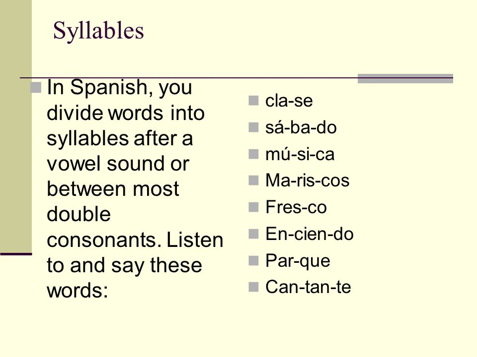 Sílabas cont… However, you do not separate most combinations of a consonant followed by an L or R .