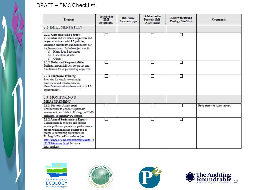 10 DRAFT – EMS Checklist