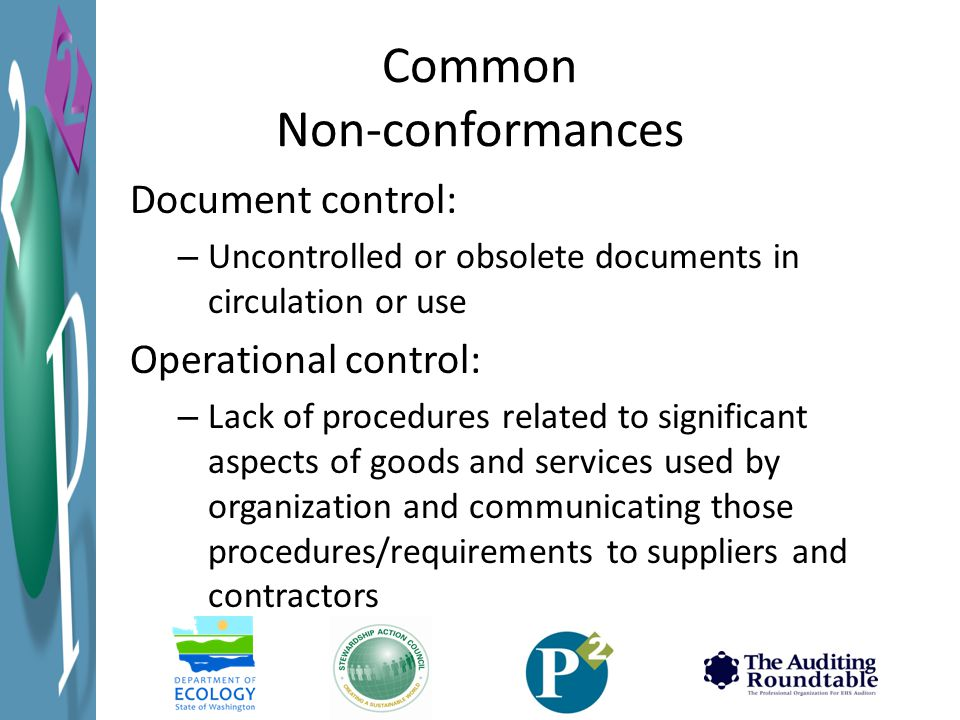 Common Non-conformances Document control: – Uncontrolled or obsolete documents in circulation or use Operational control: – Lack of procedures related to significant aspects of goods and services used by organization and communicating those procedures/requirements to suppliers and contractors