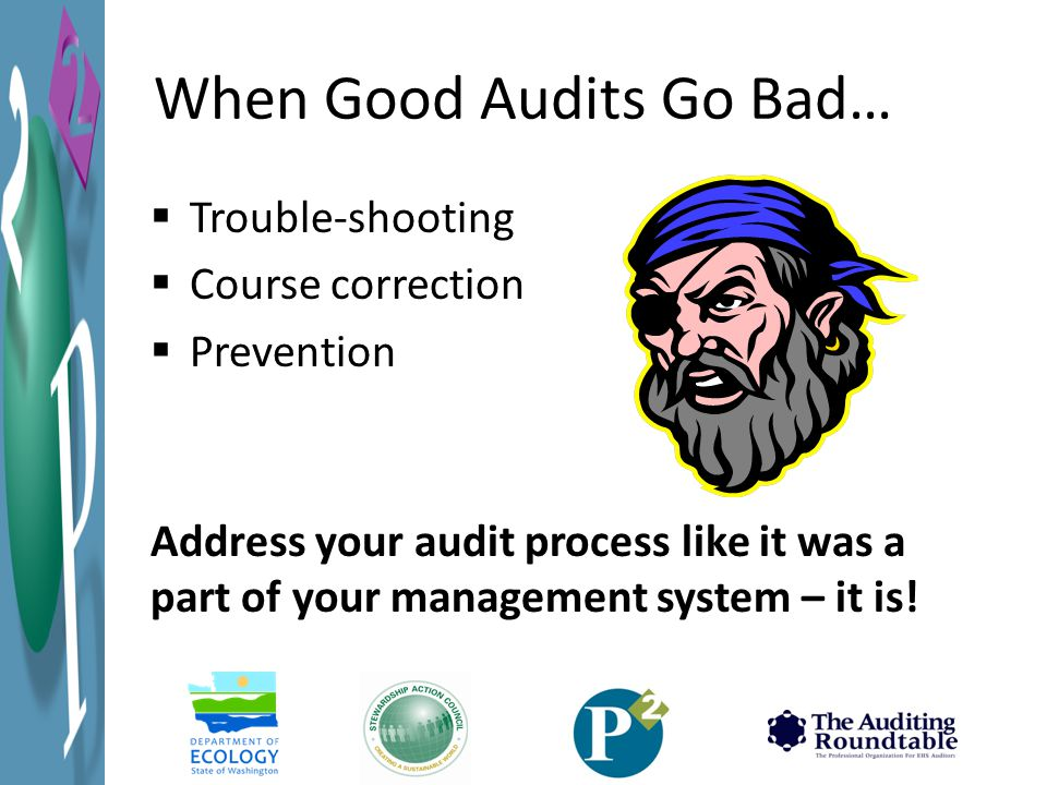 When Good Audits Go Bad…  Trouble-shooting  Course correction  Prevention Address your audit process like it was a part of your management system – it is!