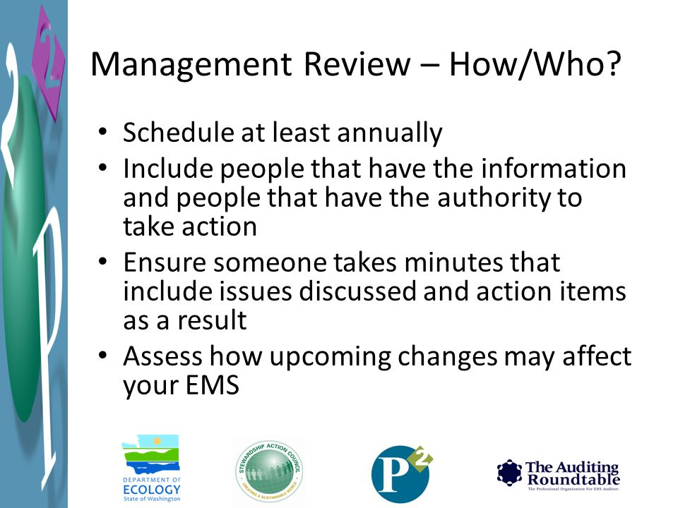 Management Review – How/Who.