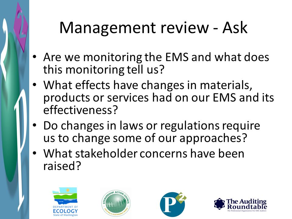 Management review - Ask Are we monitoring the EMS and what does this monitoring tell us.