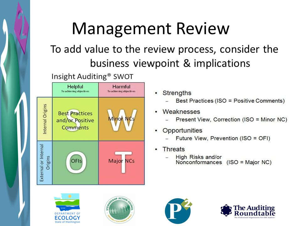 Management Review To add value to the review process, consider the business viewpoint & implications